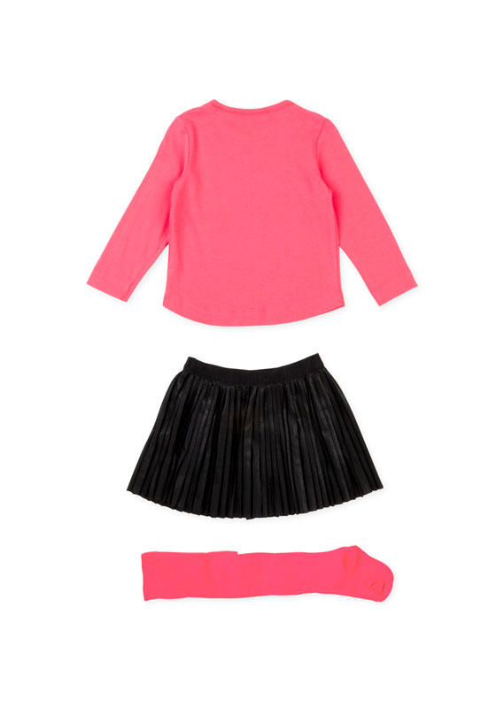 Top Pleated Skirt And Solid Tights Set Losan