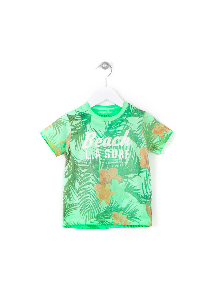 Apple green printed short sleeve t shirt losan for Sustainable t shirt printing