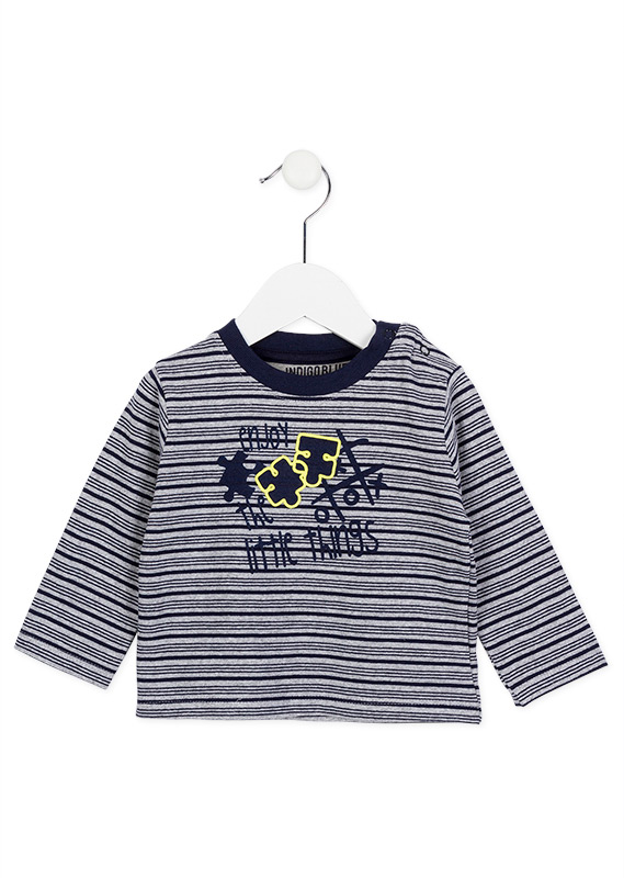 Grey And Navy Blue Striped Long Sleeve T Shirt Losan