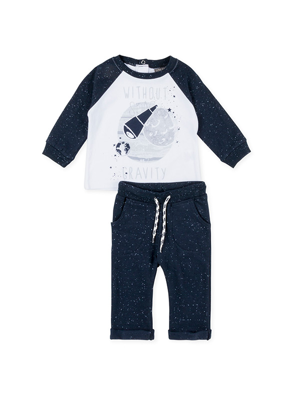 Cotton T Shirt And Plush Trousers Set Losan