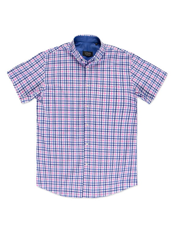 Classic pink and blue shirt with short sleeves. | LOSAN