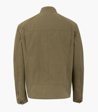 Khaki green jacket with pockets.