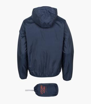 Blue jacket with detachable hood and pouch.