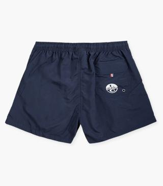 Swim trunks with front pockets.
