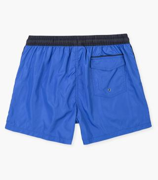 Royal blue swim trunks.