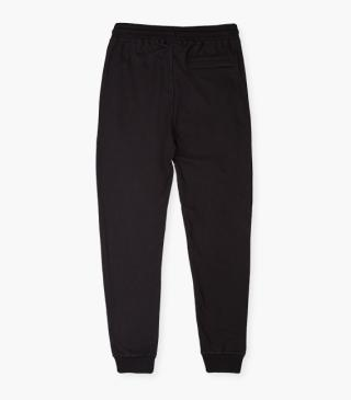 Black trousers with elasticated waistband.