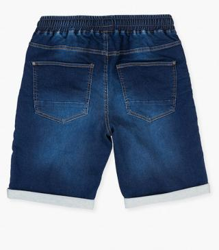 Mock-denim jersey shorts with stretch waistband.