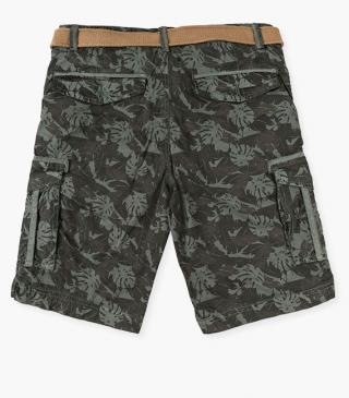 Moss green shorts with leaf print.