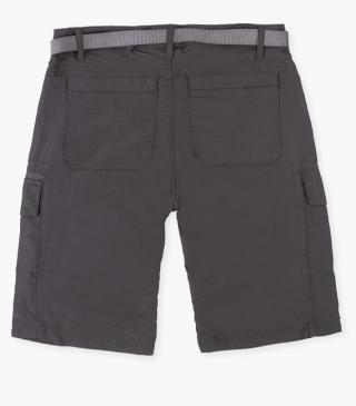Technical fabric shorts in charcoal.