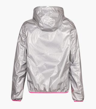 Silver jacket with hood.