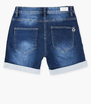 Denim jersey shorts.