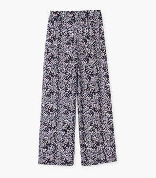 Floral print viscose trousers.
