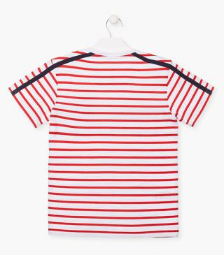 Red striped top with a patch.