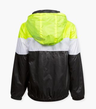 Black, yellow and white hood jacket.