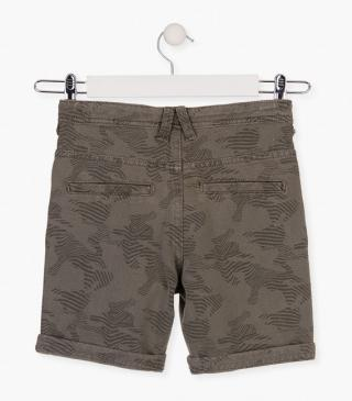 Animal print shorts in green.