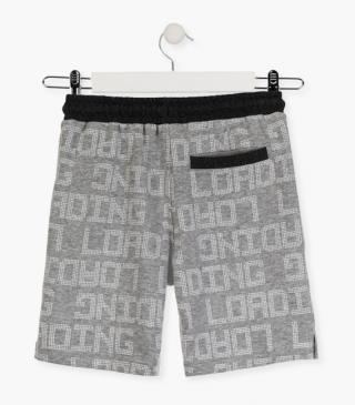 Grey shorts with graphic details.