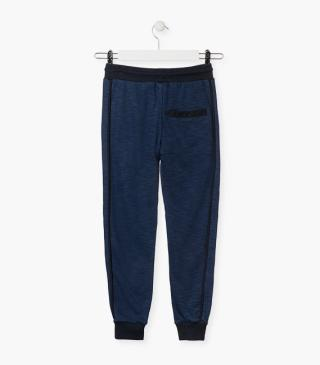 Blue unnapped plush trousers.