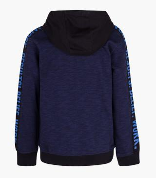 Blue unnapped plush hoodie.