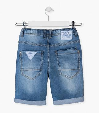 Denim plush shorts with patch.
