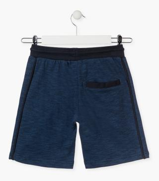 Blue unnapped plush shorts.