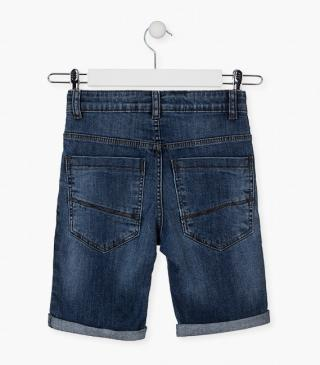Denim shorts featuring roll-up cuffs.