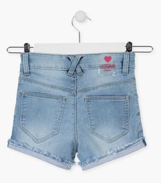Denim shorts with a roll-up hem.