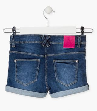 Denim shorts with sequin patch.