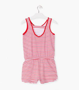 Red stripe summer romper.