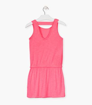 Sleeveless dress in pink jersey.