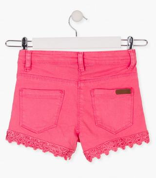 Twill shorts with crochet insert.