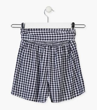 Blue gingham shorts.