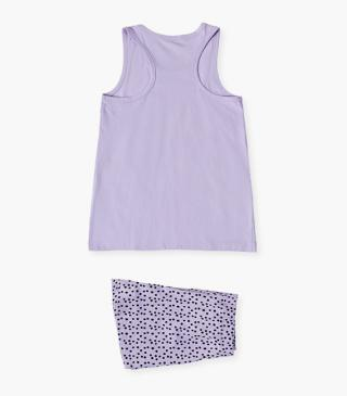 Sleeveless jersey PJs with graphic print.