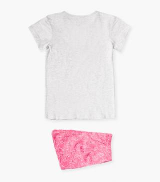 Short-sleeved PJs with flamingo motif.