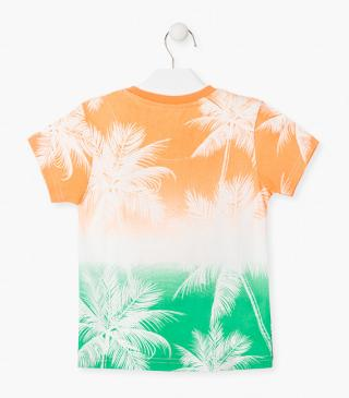 Palm tree print short sleeve t-shirt.