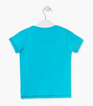 Blue tee with graphic detail.