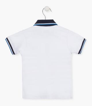 Polo in jersey con collo di colore blu navy.