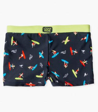Swim boxer briefs with surf-themed print.