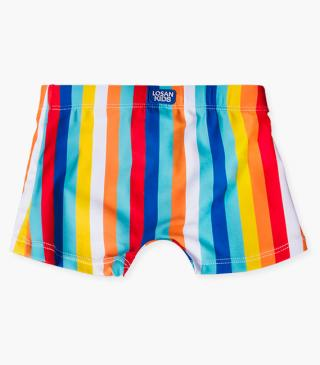 Rainbow stripe swim boxer briefs.