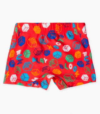 Swim boxer briefs with building block motif.