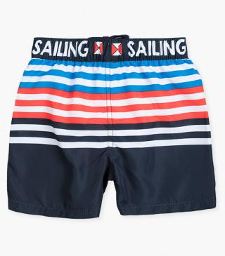 Nautical print swim trunks.