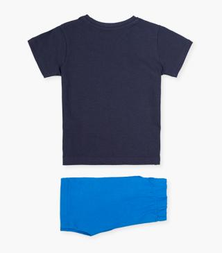 Blue shorts & short-sleeved t-shirt set.