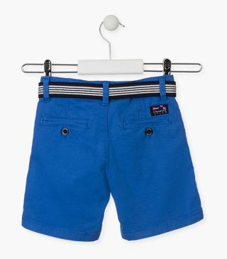 Blue shorts with a belt.