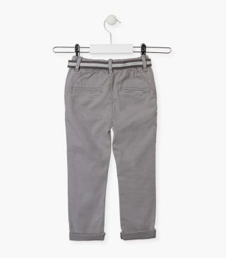 Straight-leg trousers with roll-up cuffs.