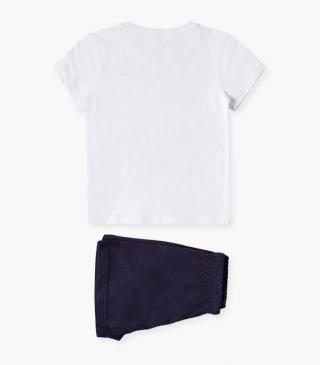 Shorts & tee PJs in jersey fabric.