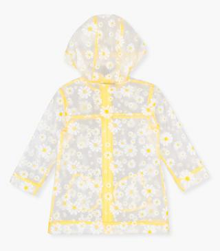 See-through raincoat with all-over daisy print.