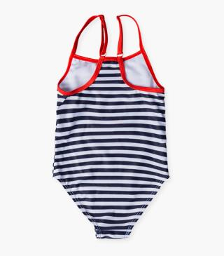 Swimsuit with marinière stripes.