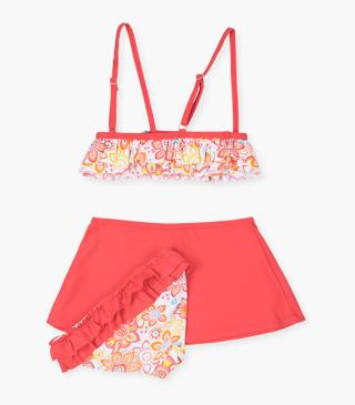 Coral red sarong and bikini set.