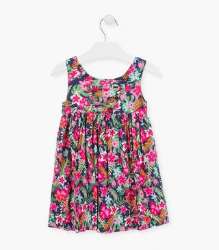 Sleeveless dress with an all-over floral print.