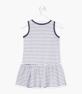 Striped dress with a bow printed on the front.