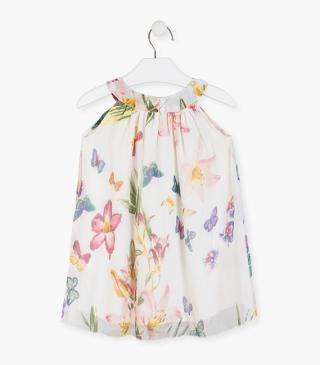 Flower and butterfly print dress.